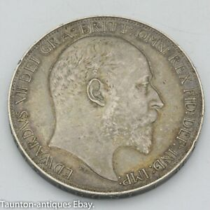 1902 silver crown coin Edward VII VF toned