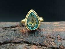 Green Amethyst Ring Natural 925 Solid Sterling Silver Pear Shape Gemstone Gold