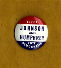 "1964 Lyndon Johnson & Hubert  Humphrey 1"" / Presidential Campaign Button(pin 03)"