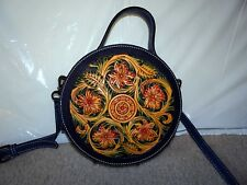 Hand Crafted Italian Leather Handbag / Purse with hand cut floral design