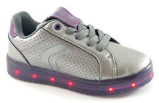 Girls Led Light Up Trainers Geox J744HA Dark Silver / Prune EU Size 30