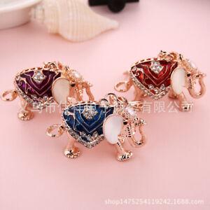 Indian Elephant Crystal Diamante Bag Charms Handbag Keyrings Pendant Key Chain