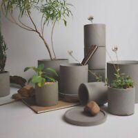 Silicone Mold Round Flower Pot Concrete Vase Garden Cement Mould DIY Pot Tray