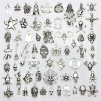 60PCS/Set Bulk Lots Tibetan Silver Mix Halloween Pendants Charms Jewelry FL