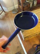Vintage Dark Blue Enamel Frying Pan – White Pattern – Retro – Great!