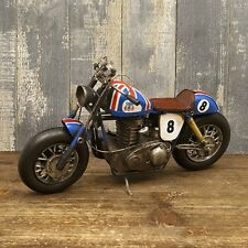 model vintage tin plate motorcycle race Blue Union Jack free shipping!1204E-2959