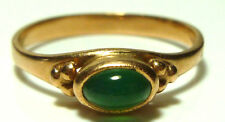 USSR RUSSIAN SOVIET 14K YELLOW GOLD CHRYSOPRASE STACKABLE STACKING RING BAND
