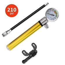 Bicycle Bike Hand Inflator Air Supply Pump W/ Gauge High Pressure Meter Shock