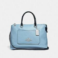 New Authentic Coach F39604 Emma Satchel Handbag Purse in Pebble Leather Blue