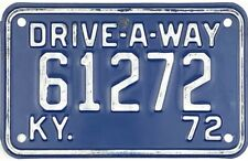 1972 Kentucky DRIVE-A-WAY License Plate #61272 No Reserve