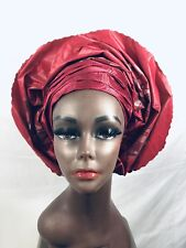 Wine/Silver Gele Head tie. Classy Design. Ready To Wear. Swiss sego fabric.