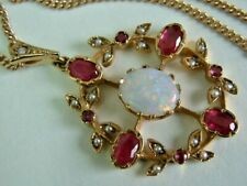 Quality 9Ct Yellow Gold Edwardian Look Rubies,Seed Pearls, Opal Pendant On Chain