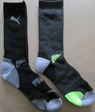 Puma Crew Length Mens Boys Sports Running Socks Twin Pack Black Size 11 - 15 NEW