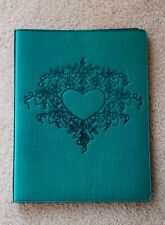 Oberon Design Leather Large Portfolio - Tendril Heart in Teal