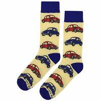 NWT VW Beetle Yellow Dress Socks Novelty Men 8-12 Fun Sockfly