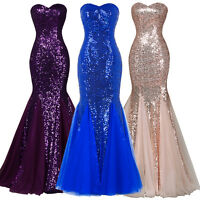 Long Sequin Strapless Sexy Dress Evening Prom Formal Carpet Bridesmaid Prom Gown