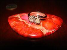 Stunning Vintage 14K SOLID WHITE GOLD & NATURAL-GENUINE DIAMONDS Ring.Sz-6