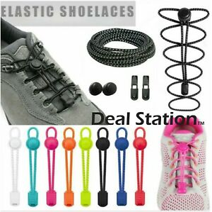 No Tie Shoe Laces Lazy Elastic Round Shoelaces Lock Adults Kids Sports Trainers