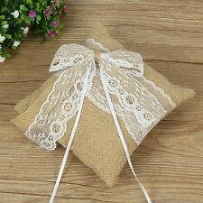Burlap Lace Rustic Vintage Bridal Wedding Ceremony Ring Bearer Pillow Cushion