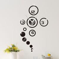 mode 3D moderne décoration miroir DIY maison salon horloge murale autocoll