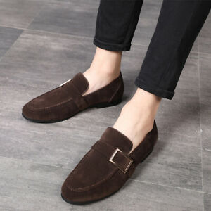 Mens Faux Suede Buckle Straps Pointed Toe Flats Driving Loafers Leisure Shoes
