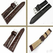 Unisex Colors Brown New Steel Men Tang Band Strap Watch Genuine Leather