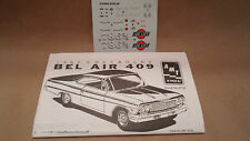 1962 Bel Air 409 1/25 Instruction Decal Sheet Waterslide Sticker Drag Car Model
