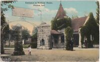 1913 MARION Indiana Ind Postcard ENTRANCE TO SOLDIERS HOME Gate Child