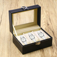 Jewelry Watch Box 3 Grid Mens Jewelry Display Drawer Tray Glass PU Leather