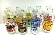 More details for lot of 9 vintage glass milk bottles with advertising mars, cadbury's, knorr