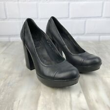Kork Ease Womens Size 7.5 Black Leather Chunky Heels Casual Career Party Shoes