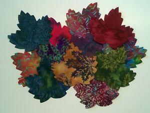 Batik Leaves fabric scraps Pack remnants quilting patchwork bundles 100% cotton