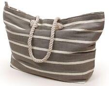 New England Grey & White Pinstripe Heavy Duty Shopping Tote Beach Bag 22899