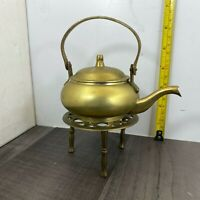 Authentic Vintage Small Brass Kettle on Trivet Three Legs. Lovely Fireplace.