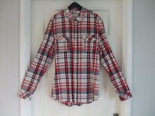 Mens Red Blue White Brown Casual Check Shirt - Size M Medium Summer Winter