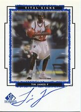 1999-00 UD SP Top Prospects Tim James Vital Signs On Card Autograph Hurricanes