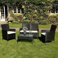 Wido 4 Piece Black Rattan Effect Garden Furniture Set