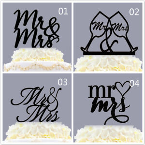 Acrylic Mr & Mrs Simple Wedding Cake Topper, Toasting Wine Glass, With Heart