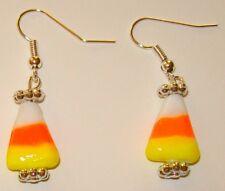 HALLOWEEN LAMPWORK EARRINGS-CANDY CORN-GLASS-ORANGE/YELLOW-HANDCRAFTED-799