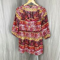 *BNWT* PAPAYA Fire Multi Ethnic Geometric SIZE 14 UK Half Sleeve Tunic Style Top