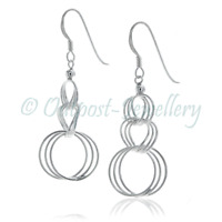 Real Sterling Silver 925 ✅ Plain Classic Hanging Circle Long Drop Earrings Party