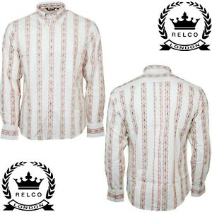 Relco Mens White Abstract Geometric Long Sleeve Shirt Button Down Collar Retro