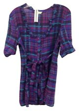 NEW NWT Anthropologie Tulle Retro Purple Stripe Tie Front Ruffled Sun Dress $100