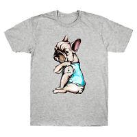 Pug Dog Tattoo I Love Mom Funny Graphic Gift T-Shirt Men Cotton Short Sleeve Tee