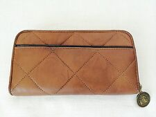 LANVIN Amalia Quilted Lambskin Brown Leather Zip Around Wallet