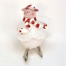 Ice skating snowman Christmas ornament   T