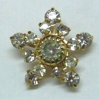 Christmas Snowflake Lapel Pin With 17 Swarovski Crystal Stones in Gold Plate NEW