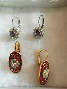 Joan Rivers Pierced Earrings:2 pairs: 1)Silver with center crystal 2) Gold & red