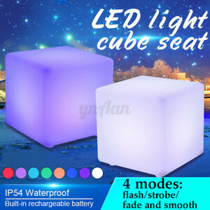 LED Cube Waterproof Rechargeable Light Color Changing Stool Garden Seat  h