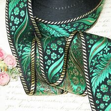 1y Vtg French Green Metal Thread Rose Flower Jacquard Ribbon Trim Brocade Antiqu